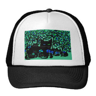all black cat and her kittens on teal background.t trucker hat