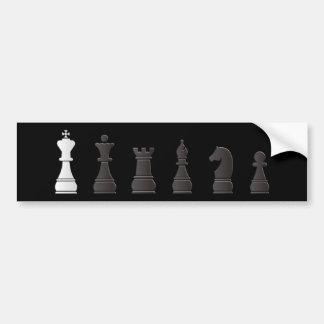 All black one white, chess pieces bumper sticker