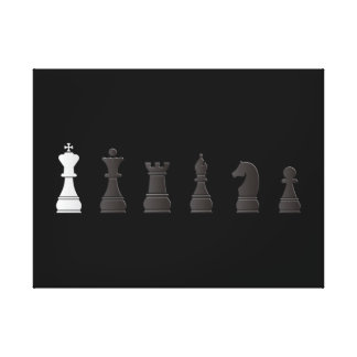 All black one white, chess pieces canvas print