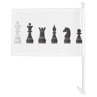 All black one white, chess pieces car flag