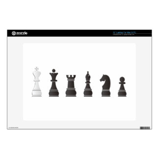 """All black one white, chess pieces decal for 13"""" laptop"""