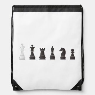 All black one white, chess pieces drawstring backpack