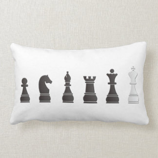 All black one white, chess pieces lumbar pillow
