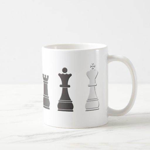 All black one white chess pieces mug