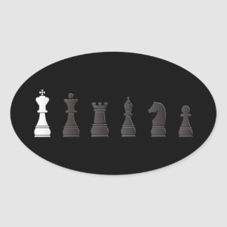 All black one white, chess pieces oval sticker