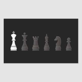All black one white, chess pieces rectangular sticker