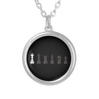 All black one white, chess pieces silver plated necklace
