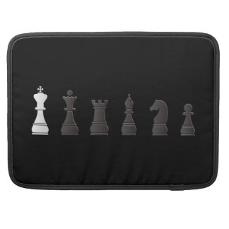 All black one white, chess pieces sleeve for MacBooks