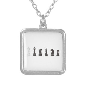 All black one white, chess pieces square pendant necklace