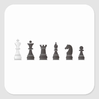 All black one white, chess pieces square sticker