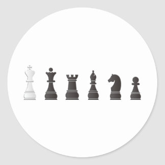 All black one white chess pieces classic round sticker