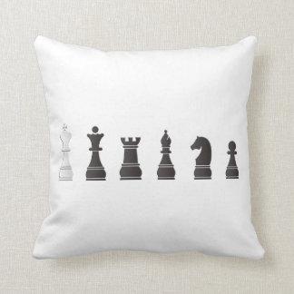 All black one white, chess pieces throw pillow