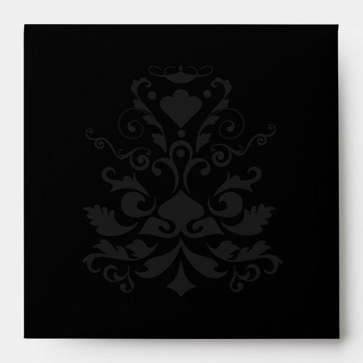 All Black White Damask Elegant Custom Envelope