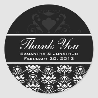 All Black with White Damask Wedding Favor Labels
