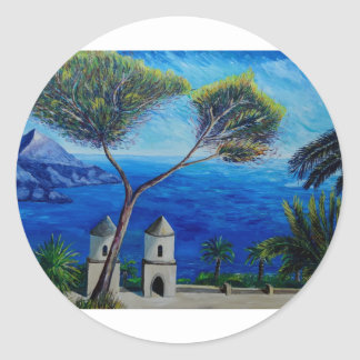 All Blue on Amalfi Coast in Italy Round Stickers