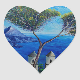 All Blue on Amalfi Coast in Italy Heart Stickers