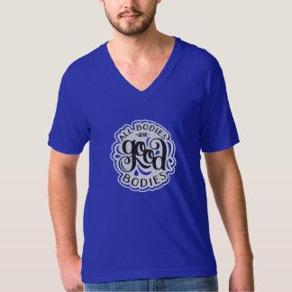 All Bodies are Good Bodies Unisex Blue V-Neck T-shirt