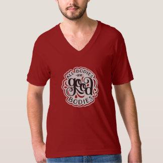 All Bodies are Good Bodies Unisex Cherry V-Neck T-Shirt