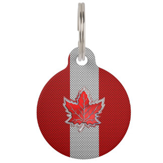 All Canadian Red Maple Leaf on Carbon Fiber Print Pet ID Tag