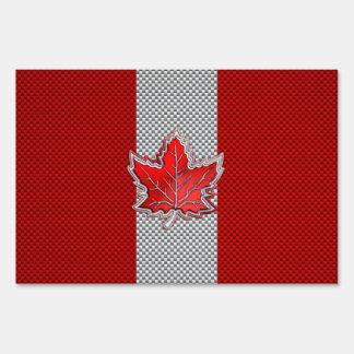 All Canadian Red Maple Leaf on Carbon Fiber Print Sign
