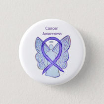 All Cancer Awareness Lavender Ribbon Pin Button
