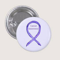 All Cancers Awareness Lavender Ribbon Button Pin