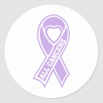 all cancers ribbon classic round sticker