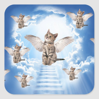 All Cats Go to Heaven Square Sticker