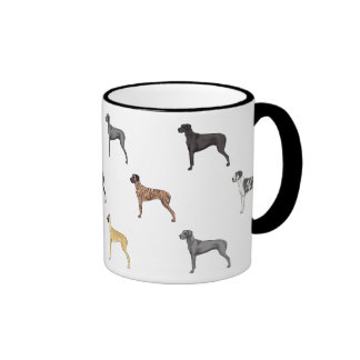 All Colors of Great Danes *Natural eared* Ringer Coffee Mug