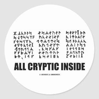 All Cryptic Inside (Jules Verne Runic Cryptogram) Stickers