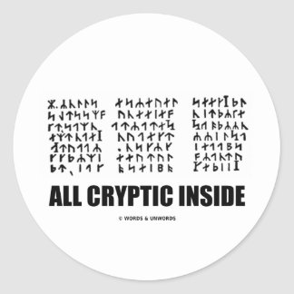 All Cryptic Inside (Jules Verne Runic Cryptogram) Round Stickers