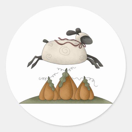 All dem Blessings · Sheep & Pumpkins Round Sticker