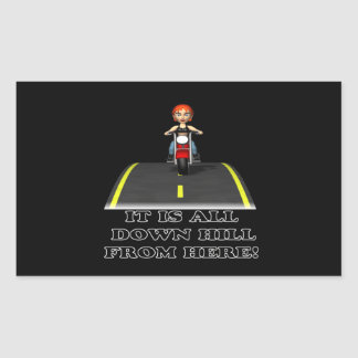 All Down Hill From Here Rectangular Sticker