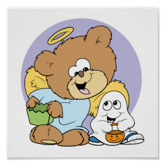 all dressed for halloween angel teddy bear poster