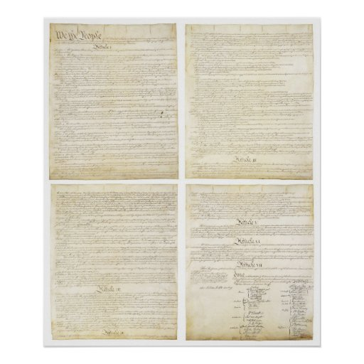 All Four ORIGINAL Pages of the U.S. Constitution Poster