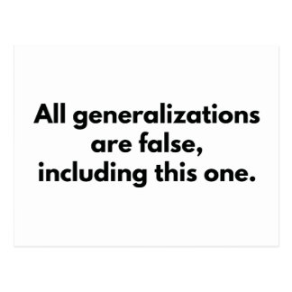 All Generalizations Are False Postcard