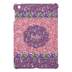 All Girl Pink Purple Glitter Gem Look Personalized Ipad Mini Covers at Zazzle