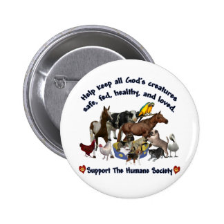 All Gods Creatures Humane Society Pinback Button