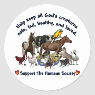 All Gods Creatures Humane Society Round Stickers