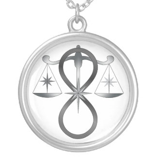 All Gods Universal Power Monochrome Symbol Round Pendant Necklace