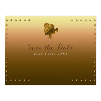 All Gold Cinema & Stars Hollywood Save the Date Postcard