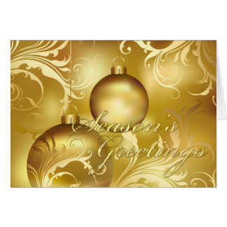 All Gold Flourished Ornamens Season's Greetings Card