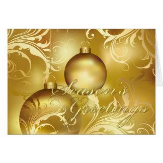 All Gold Flourished Ornamens Season's Greetings Card