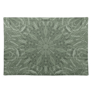 All Green Funky Sun Pattern Cloth Placemat