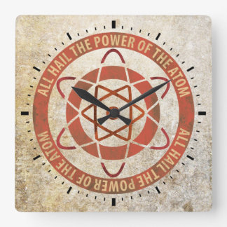 All Hail the Power of the Atom Retro Logo Square Wall Clock