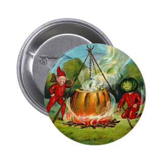 All Halloween Greetings Flying Witch Pinback Button