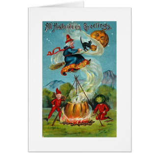 All Halloween Greetings Flying Witch Cards
