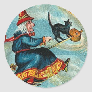 All Halloween Greetings Flying Witch Classic Round Sticker
