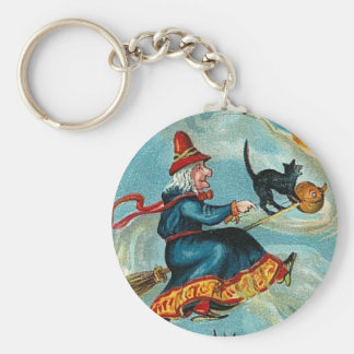 All Halloween Greetings Flying Witch Keychain