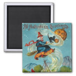 All Halloween Greetings Flying Witch 2 Inch Square Magnet